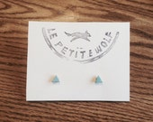 Triangle Earring Set - Aquamarine & Gold