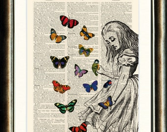 Alice in Wonderland vintage book page print on a page from an Antique late 1800s Dictionary Buy 3 get 1 FREE