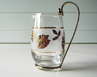 Small Glass Pitcher, Cocktail Pitcher, Libbey, Golden Foliage Pattern