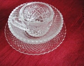 Heisey Mini Childs Dish Set Cup Bowl Plate Depression Glass