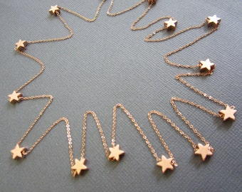 15 RoseGold Star Necklace, Long necklace, star necklace, Gift for Teacher, layere necklace, Necklace,  you are my Star Jewelry
