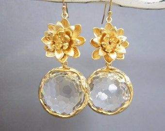 SALE - Purity and calm, Gold Lotus Flower earrings, Large crystal pendant Earrings, Wedding jewelry, Bridesmaide earrings