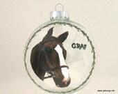 Horse, Original Art, Pet Portrait, Christmas Painting, Custom Ornament, Pet Memorial, Horse Loss, Holiday Decor, Horse Lover