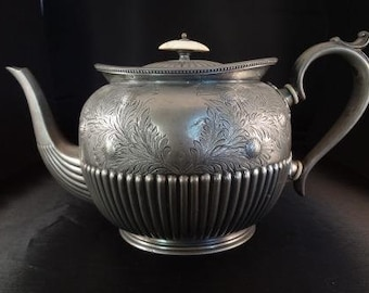 REDUCED! Beautiful Antique British Hand Engraved Teapot