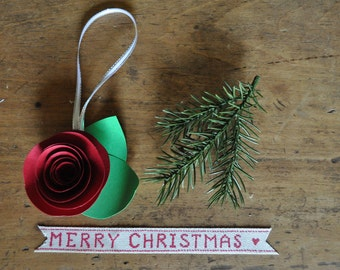 Set of 5 Red Christmas Ornament Paper Flower Ornament