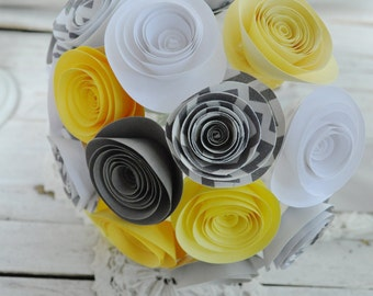 Bridal Bouquet Gray and Yellow Paper flower Bouquet Bridesmaid bouquet alternative bouquet