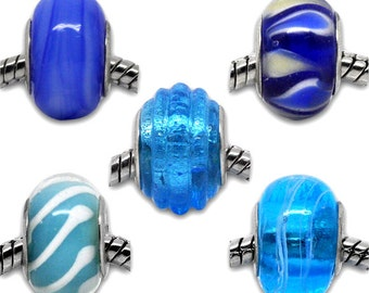 5 pieces Mixed Blue Lampwork Glass European Beads, 13x9mm-15x10mm
