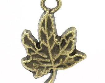 5 Pieces Antique Bronze Maple Leaf Charms