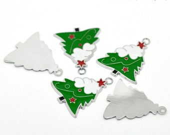 4 Pieces Large Silver Tone Enamel Christmas Tree Charms