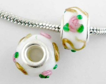 2 Pieces White Floral Glass Lampwork European Beads