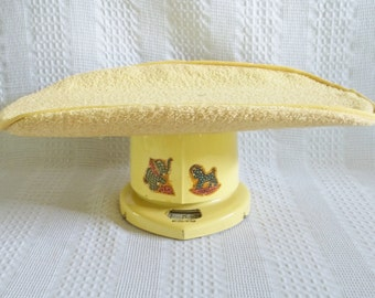 Baby scale, yellow Counselor baby scale, original terrycloth cover & original box, 1950s nursery decor, prop, baby shower gift, storage prop