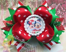 Minnie Mouse hair bows Mickey Mouse bottle cap over the top boutique hair clip disney girls red headband xmas winter wonderland vacation