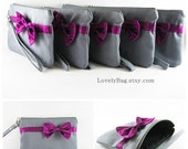SUPER SALE - Set of 8 Gray with Little Eggplant Purple Bow Clutches - Personalized Monogram Zipper Pull, Bridal Clutches - Made To Order