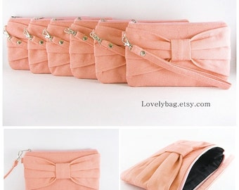 SUPER SALE - Set of 5 Wedding Clutches, Bridesmaids Clutches / Peach Bow Clutches - Made To Order