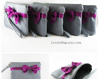 SUPER SALE - Set of 6 Gray with Little Eggplant Purple Bow Clutches - Bridal Clutches, Bridesmaid Wristlet, Wedding Clutch - Made To Order