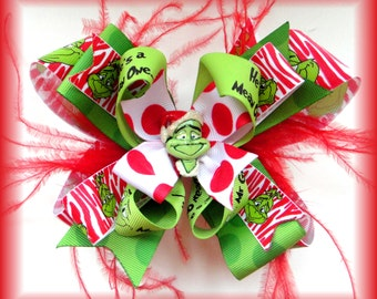 Grinch Mean One Christmas Over-the-Top Hair Bow Ostrich Feather Grinchy