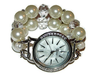 Pearl Bracelet Watch - Pearl Beaded Watch - Womans Interchangeable Pearl Watch - Dressy Watch - BeadsnTime - Apple Watch Band - Gift for Her