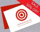 """SALE - I Love You Card - Greeting Card, Love, Cute, Funny, Target, Eye on You, Red, Bullseye - 4.5"""" x 6.25"""""""