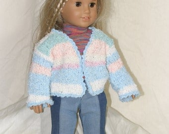 White, Blue and Pink Striped Sweater Made for 18 inch American Girl Doll or any other 18 inch doll