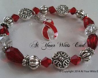 Substance Abuse Awareness Bracelet, drug abuse, substance abuse, red jewelry, red ribbon, awareness ribbon, stretchy bracelet, red bracelet,