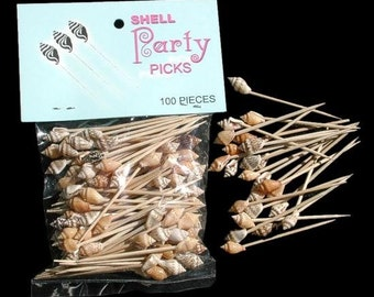 Tiki Bar Shell Toothpicks priced per 100 pc lot