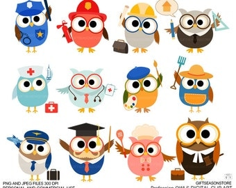 Profession owl clip art part 1 for Personal and Commercial use - INSTANT DOWNLOAD