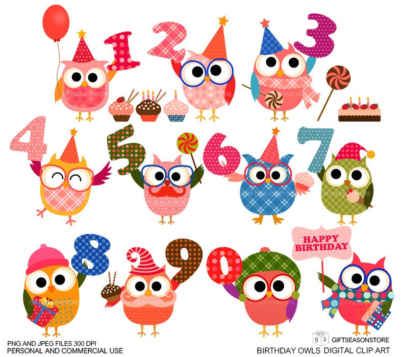 Birthday owl clip art for Personal and Commercial use