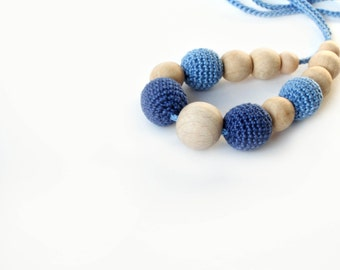 Blue Nursing Necklace -Breastfeeding Necklace - Teething necklace with crochet beads-Crochet Necklace for mom and child