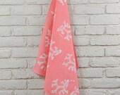 Batik Flour Sack Towel, Coral Pink  Made to order