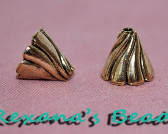 Antiqued Gold-Plated Pewter Cone Terminators- Set of 2