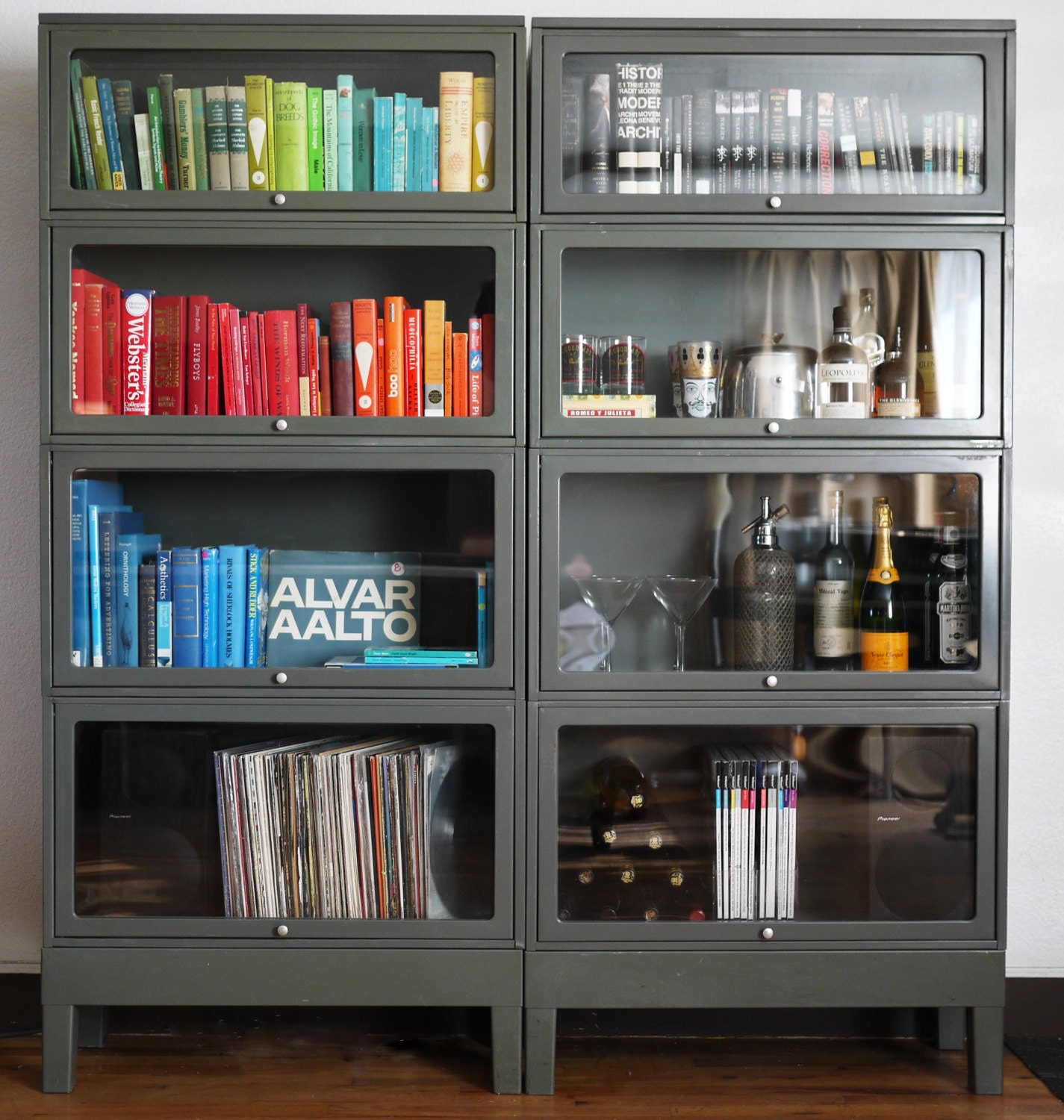 Free Shipping Vintage Steel Barrister Bookcases