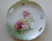 Vintage Large China Dinner Plate With Hand Painted Roses