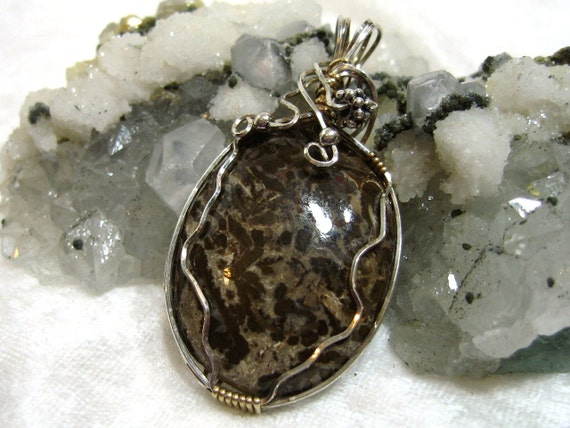 Leopard Jasper Pendant Wire Wrapped with Solid Sterling Silver 930 Argentium Anti Tarnish and 14 Kt Gold Filled (14/20) Wire