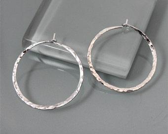 """Large 1 1/2""""  Sterling Silver Hammered Texture Hoop Earrings"""
