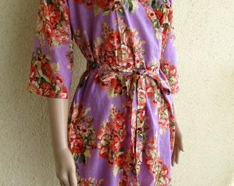 Bridesmaid Robe - Lavender Liliac with Floral Print, Crossover Kimono, Getting Ready Robe, Pre-wedding Photo Prop, Soft Cotton, MOH gift