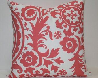 Decorative Pillow Cover Suzani Coral and White 12 14 16 18 20 24 26 inches