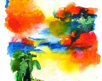 Gorgeous Vibrant Watercolor Landscape, Summer Afternoon.