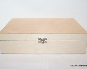 Wooden Box for DIY Projects/ Unfinished Wooden Box with 12 Compartments / Storage Box / Keepsake Box