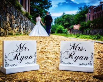 Mr. and Mrs. Sweetheart Table Signs DOUBLE SIDED Wedding Photo props Wedding Signage