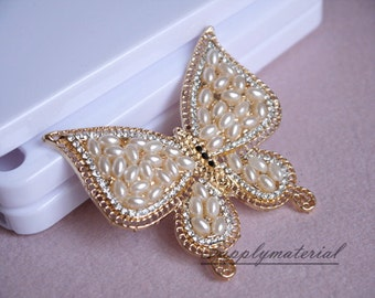 1PCS Golden Pearl Butterfly Flatback Alloy jewelry accessories materialssupplies
