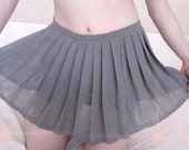 RALPH LAUREN Double Layered Grey Pleated Skirt  -  Size Small