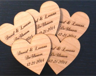 Personalized Heart Wedding Favors - Set of 50