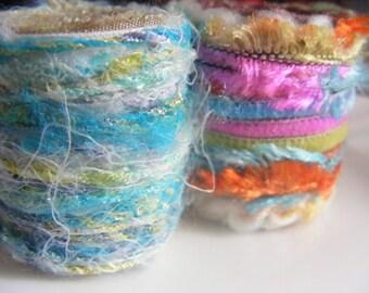 Scarf Slide Set of 2 Fiber Ring Scarf tie Pareo ring Jumbo dread bead Light Blue Multicolor Brights