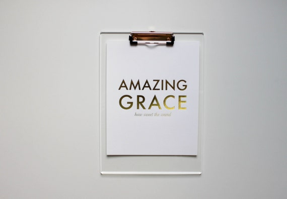 Amazing Grace Inspirational Gold Foil Print 8x10
