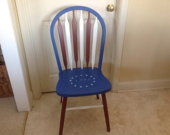 SALE!!! Hand painted red, white and blue chair americana patriotic
