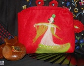 Flamenco lover gift, felted pouch with dancer silhouette, red and green, nedle felted, polka dot lining, unique, ooak
