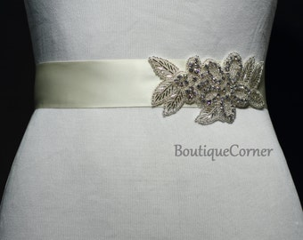 Bridal Sash-Beaded Rhinestone Sash-Wedding Accessory-Ivory Ribbon Sash-Bridal Belt-Bridal Accessories
