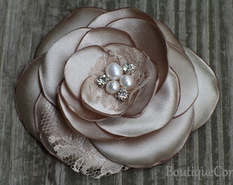 Bridesmaid Hair Flower - Bridal Hair Accessory - Champagne  Flower clip - Satin Flower - Rhinestone - Freshwater Pearls -  Wedding Hair