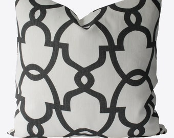 SALE Decorative Designer Geometric Quatrefoil, Trellis Lattice, Grey Fretwork, 18x18, 20x20, Throw PIllow