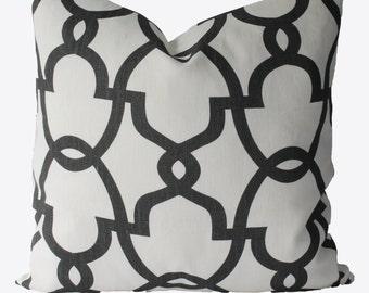 Decorative Designer Geometric Quatrefoil, Trellis Lattice, Grey Fretwork, 18x18, 20x20, Throw PIllow